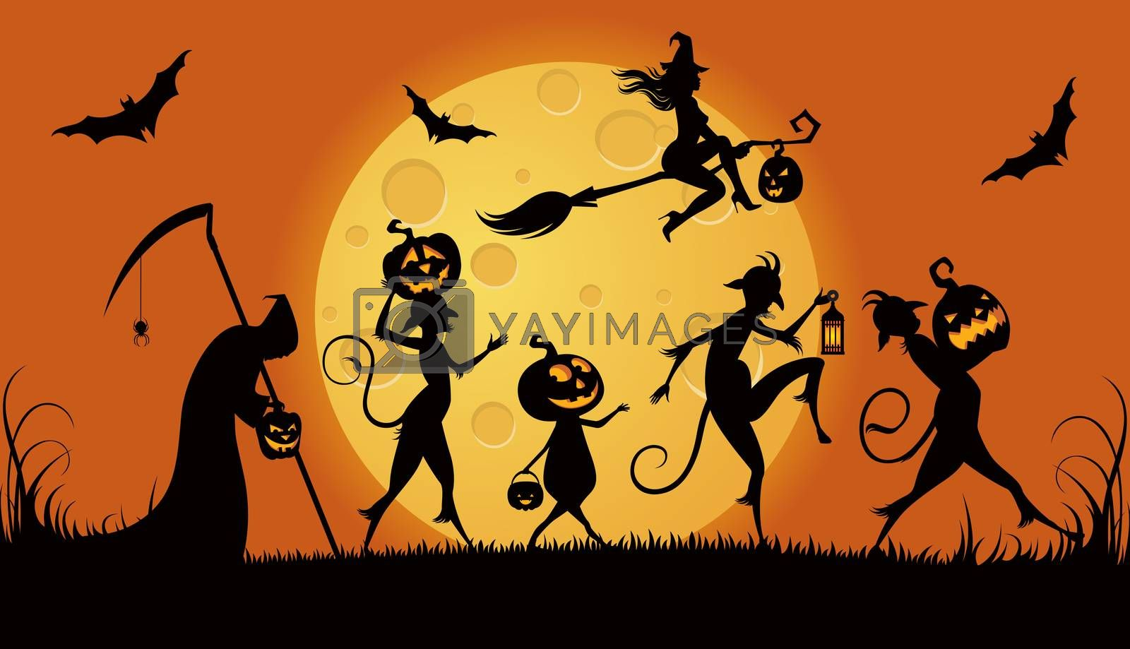 Vector illustration of procession monsters on Halloween night