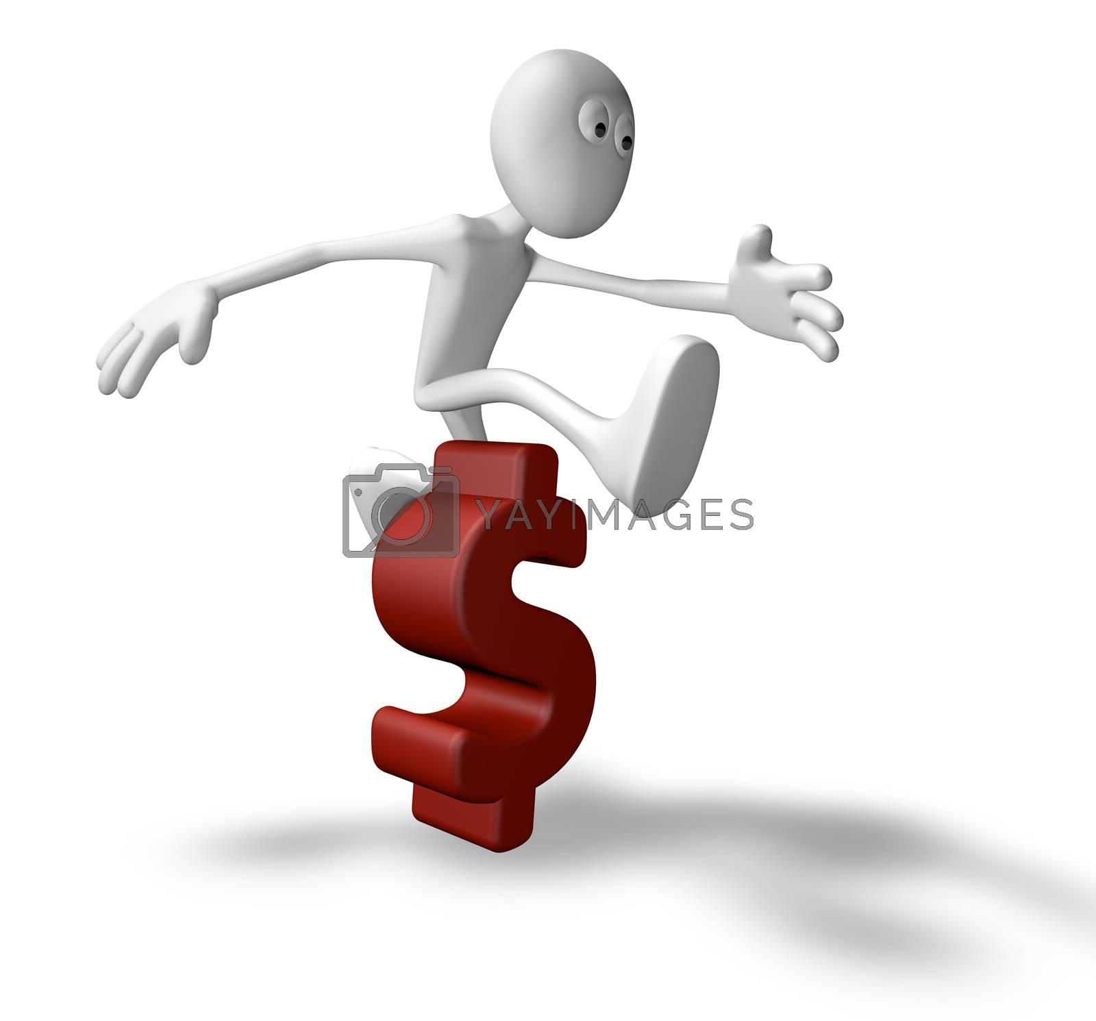 white guy jumps over dollar symbol - 3d illustration
