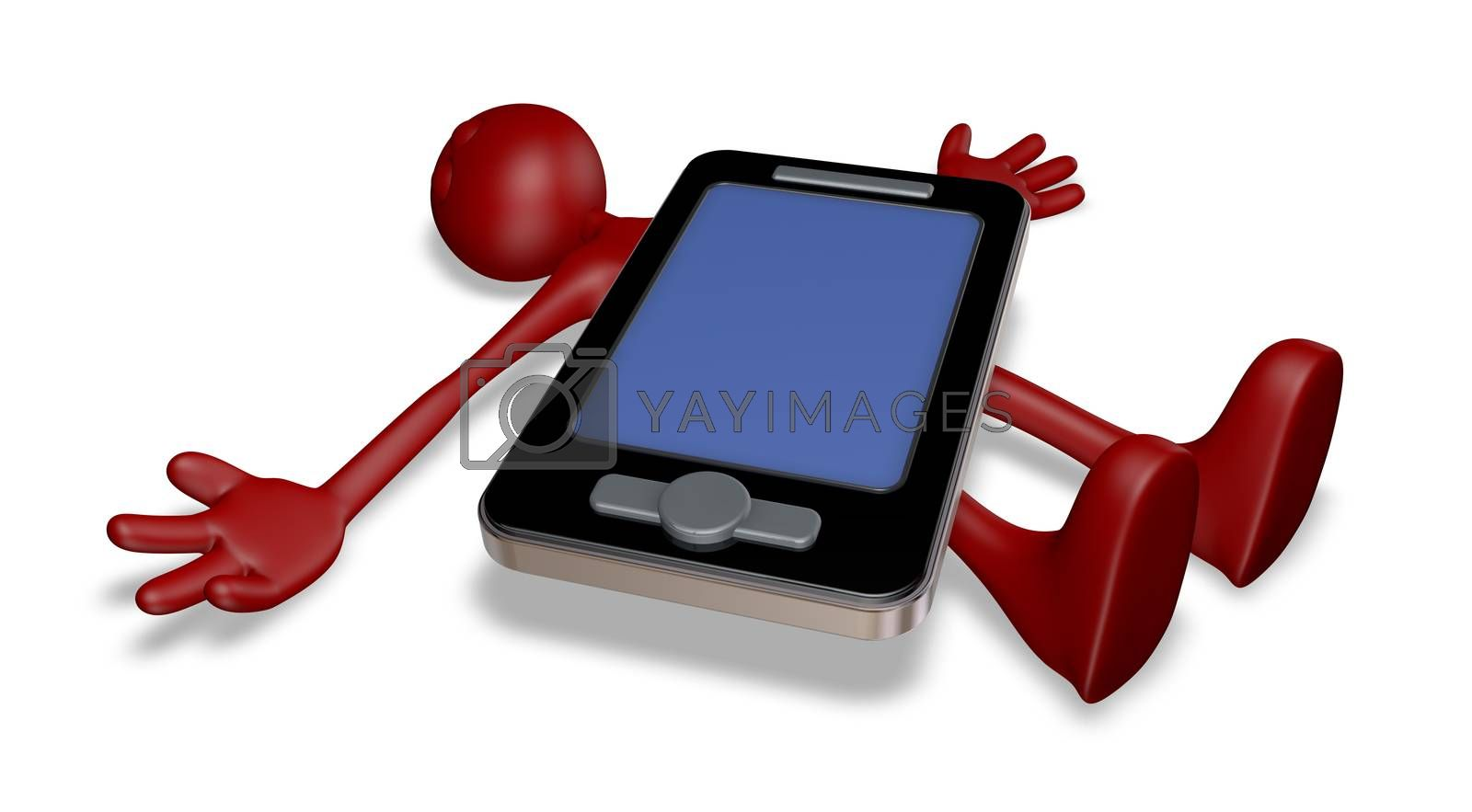 dead red guy under smartphone - 3d illustration