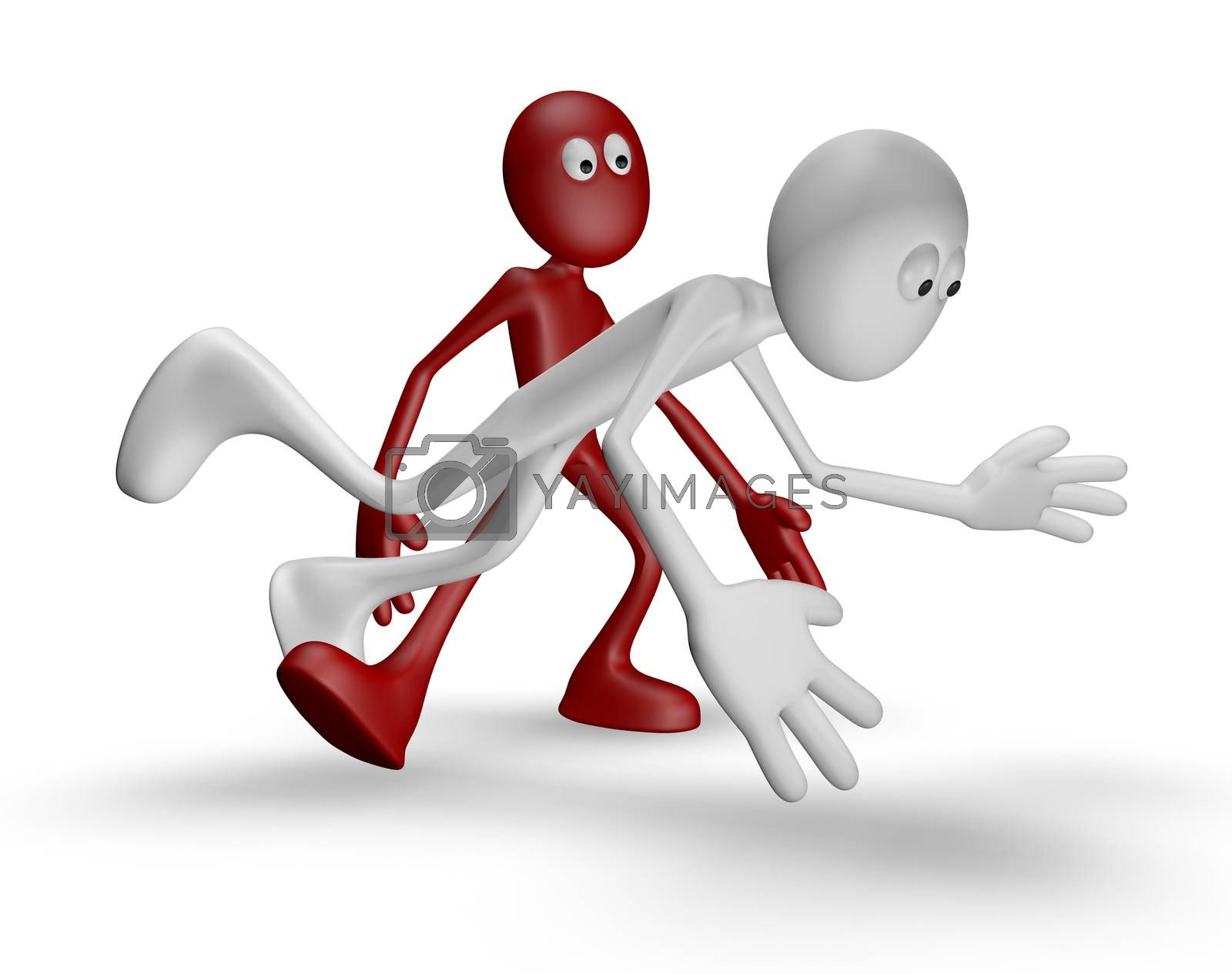 red guy gets white guy to stumble - 3d illustration
