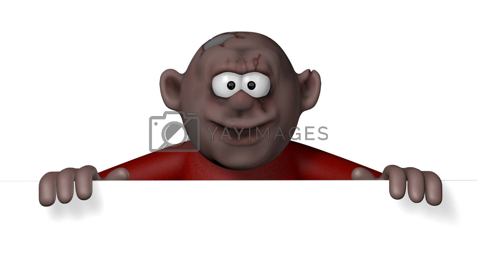 cartoon character is looking over blank white board - 3d illustration