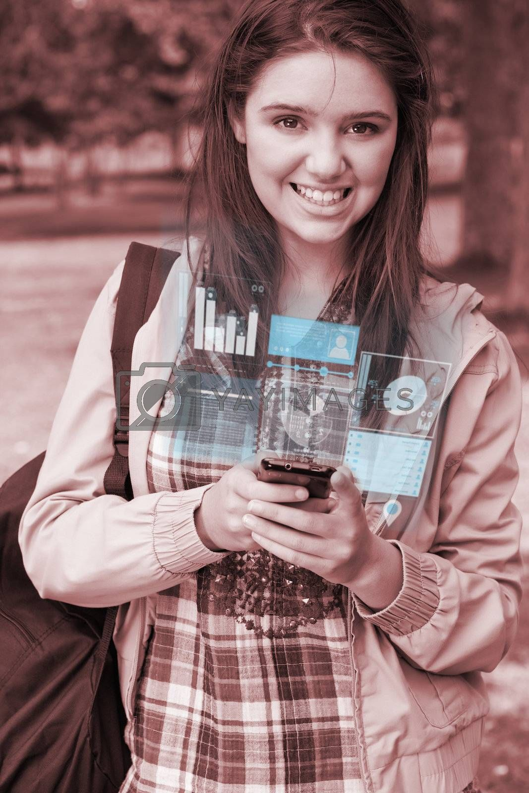 Smiling young woman working on her futuristic smartphone by Wavebreakmedia