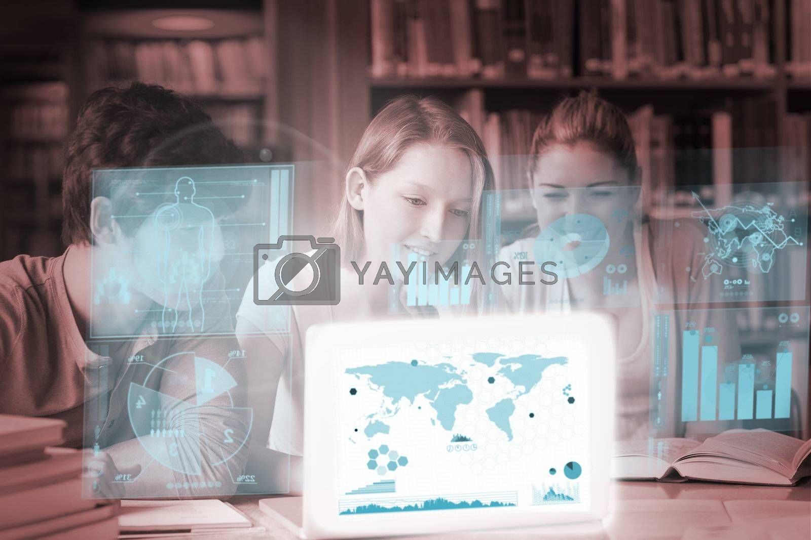 Cheerful college friends studying geography on digital interface by Wavebreakmedia