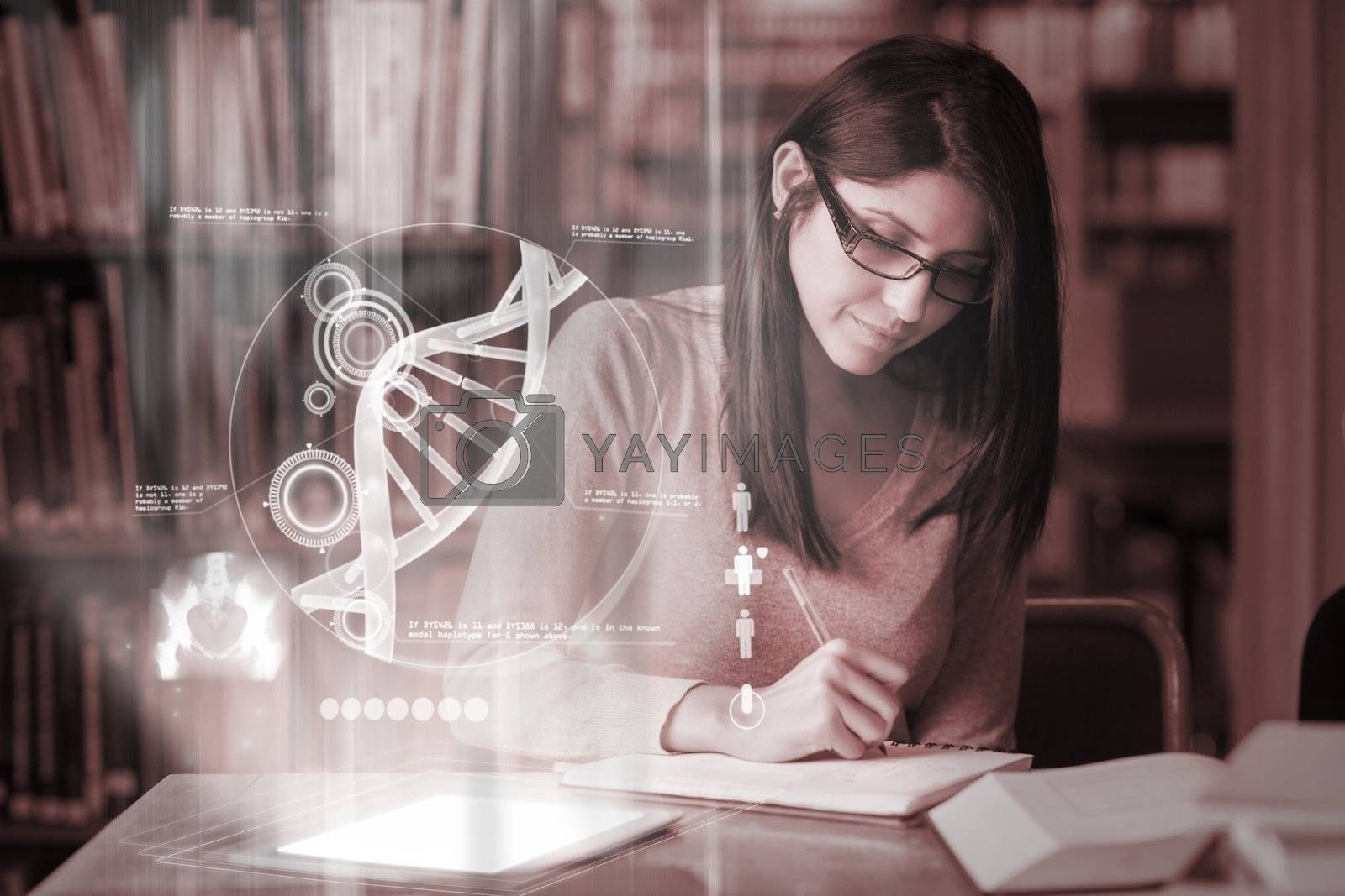 Concentrated mature student studying medicine on digital interface by Wavebreakmedia