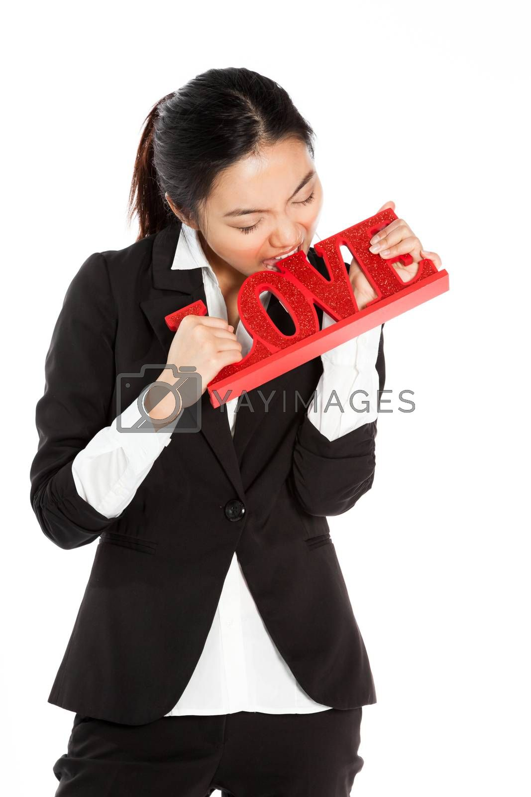 Romantic people in love shot in studio isolated on a white background