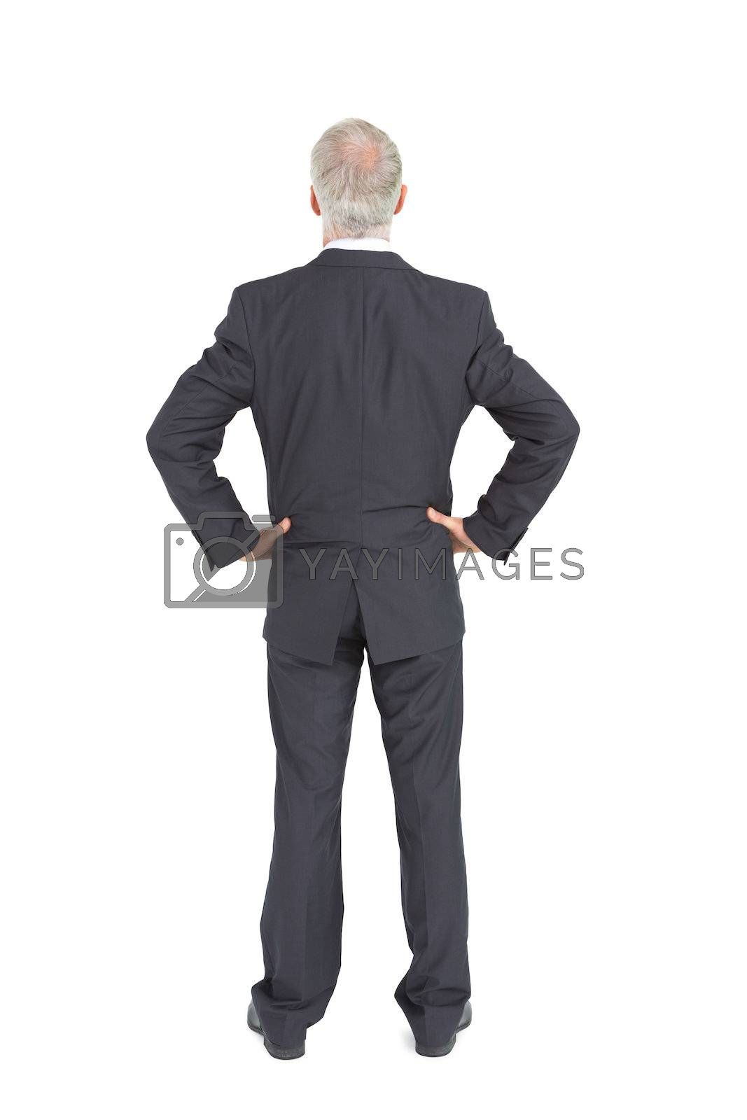 Rear view of serious mature businessman posing by Wavebreakmedia