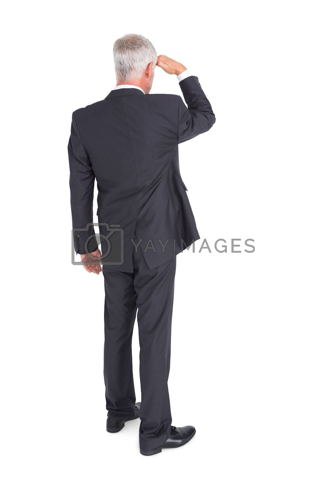 Rear view of mature businessman looking away by Wavebreakmedia