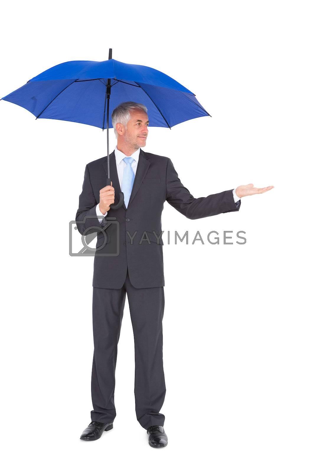 Peaceful businessman holding blue umbrella by Wavebreakmedia