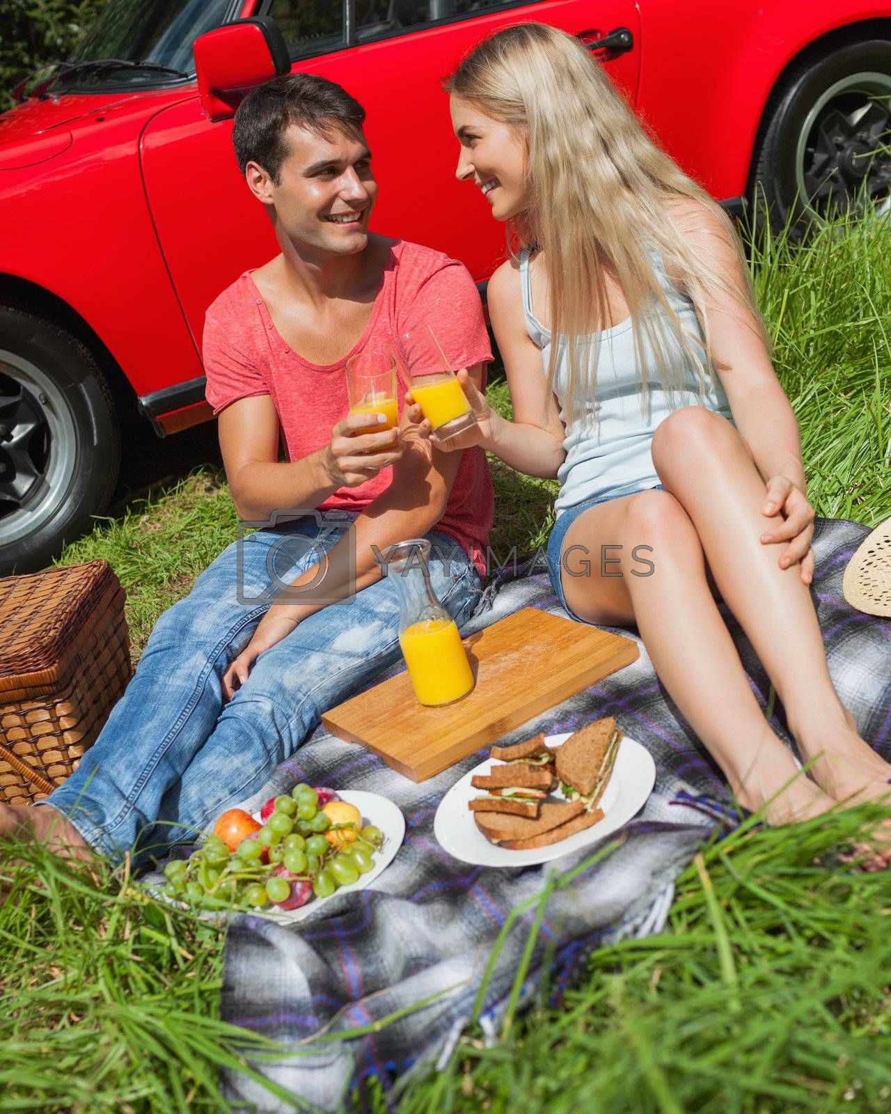 Cheerful couple sitting having picnic together by Wavebreakmedia