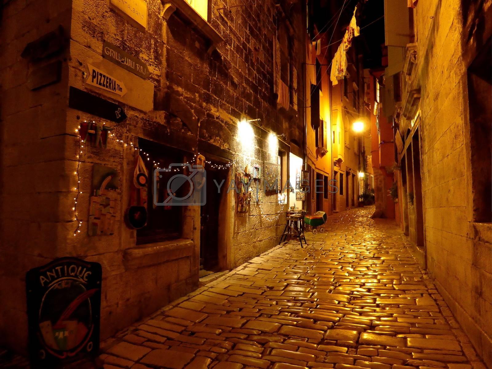 Golden night  view of Mediterranean street in Rovinj