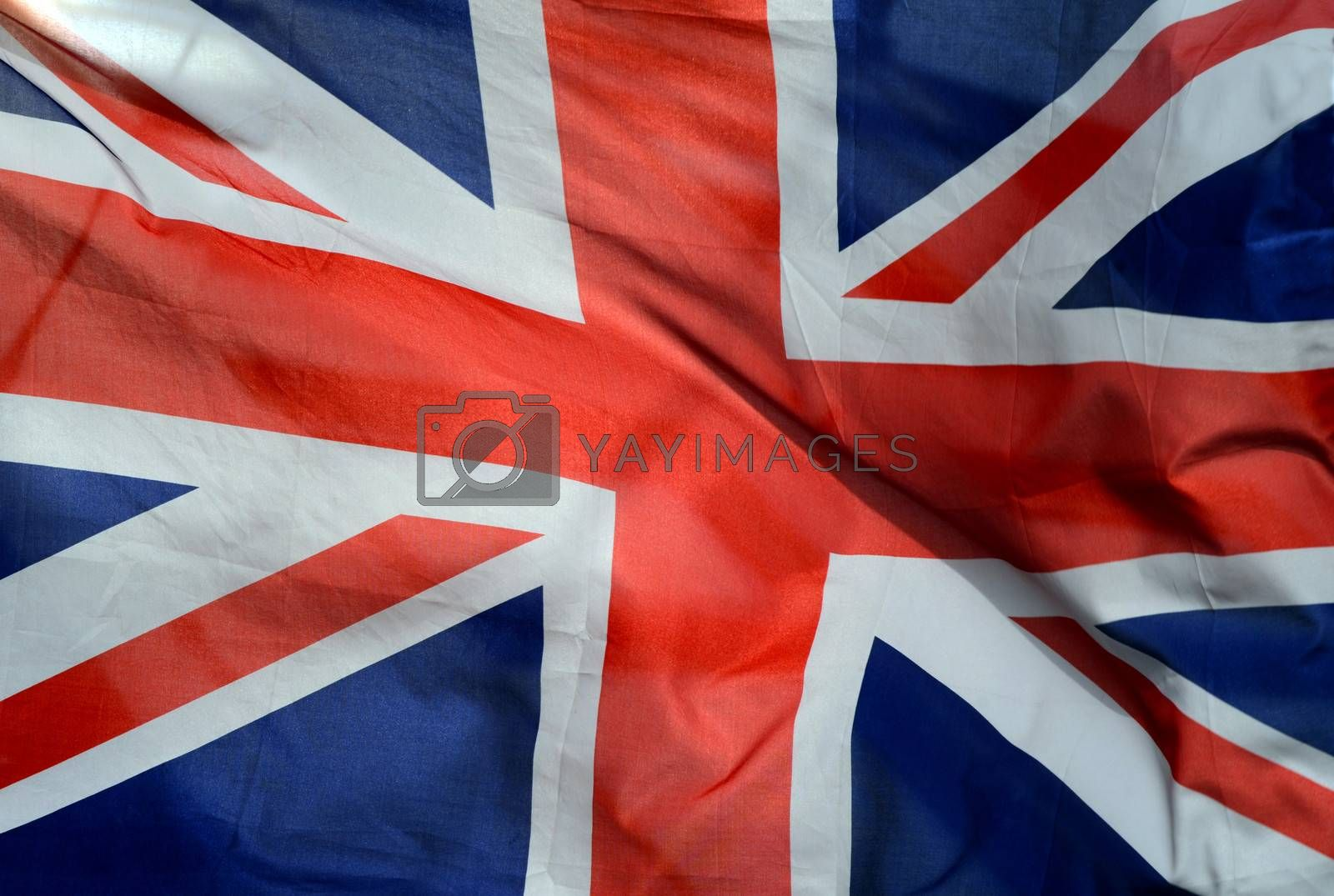 Background Of British Union Jack Flag In The Wind