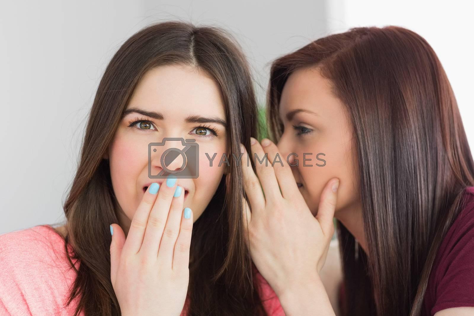 Two pretty girls sharing secrets by Wavebreakmedia