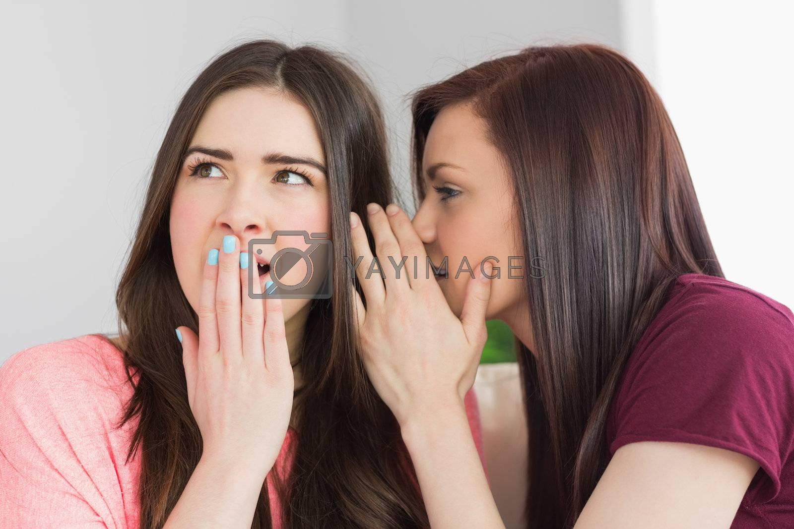 Two smiling girls sharing secrets by Wavebreakmedia