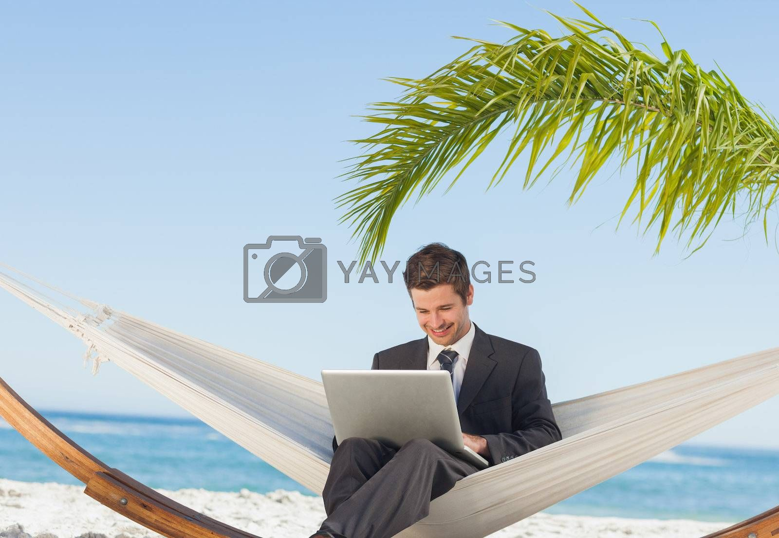 Smiling businessman using laptop and sitting in hammock by Wavebreakmedia