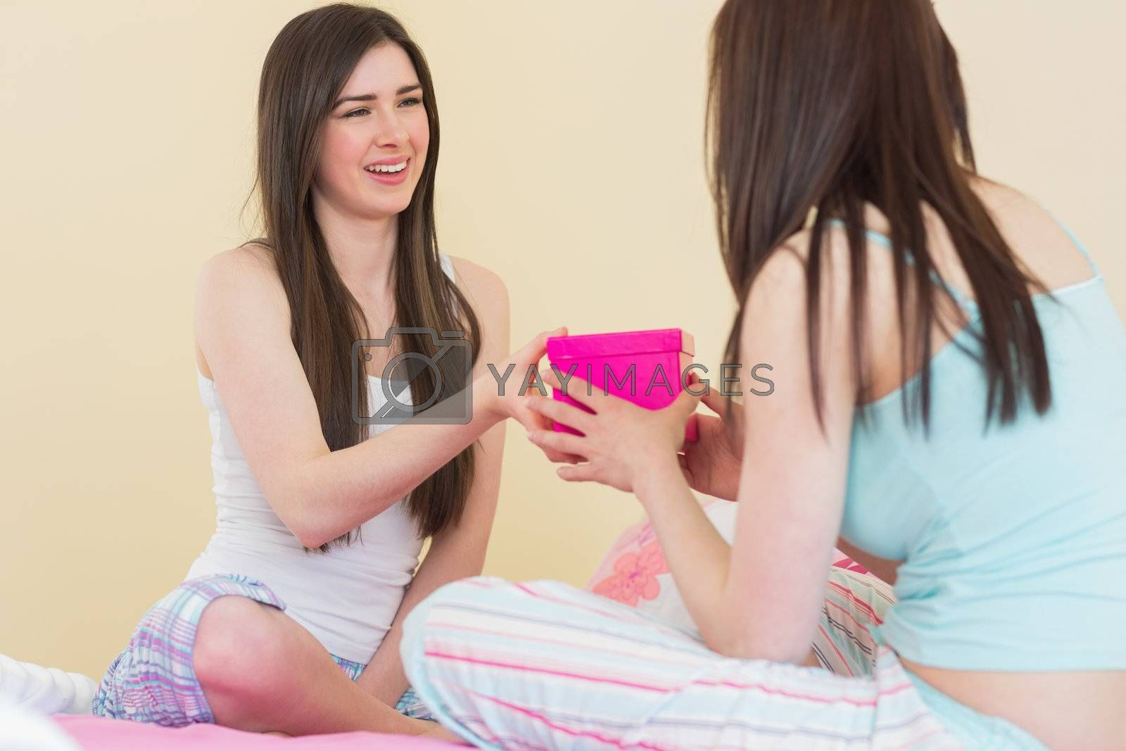 Smiling girl in pajamas giving a present to her friend by Wavebreakmedia