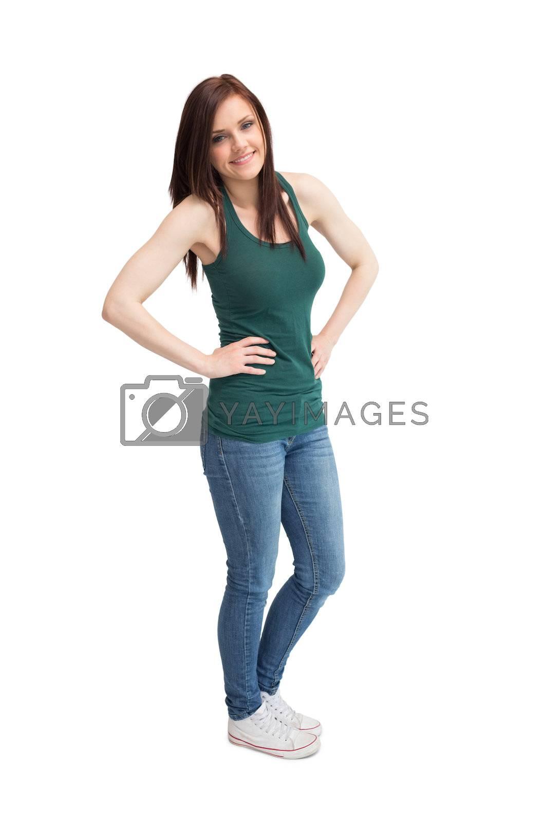 Cheerful casual woman posing by Wavebreakmedia