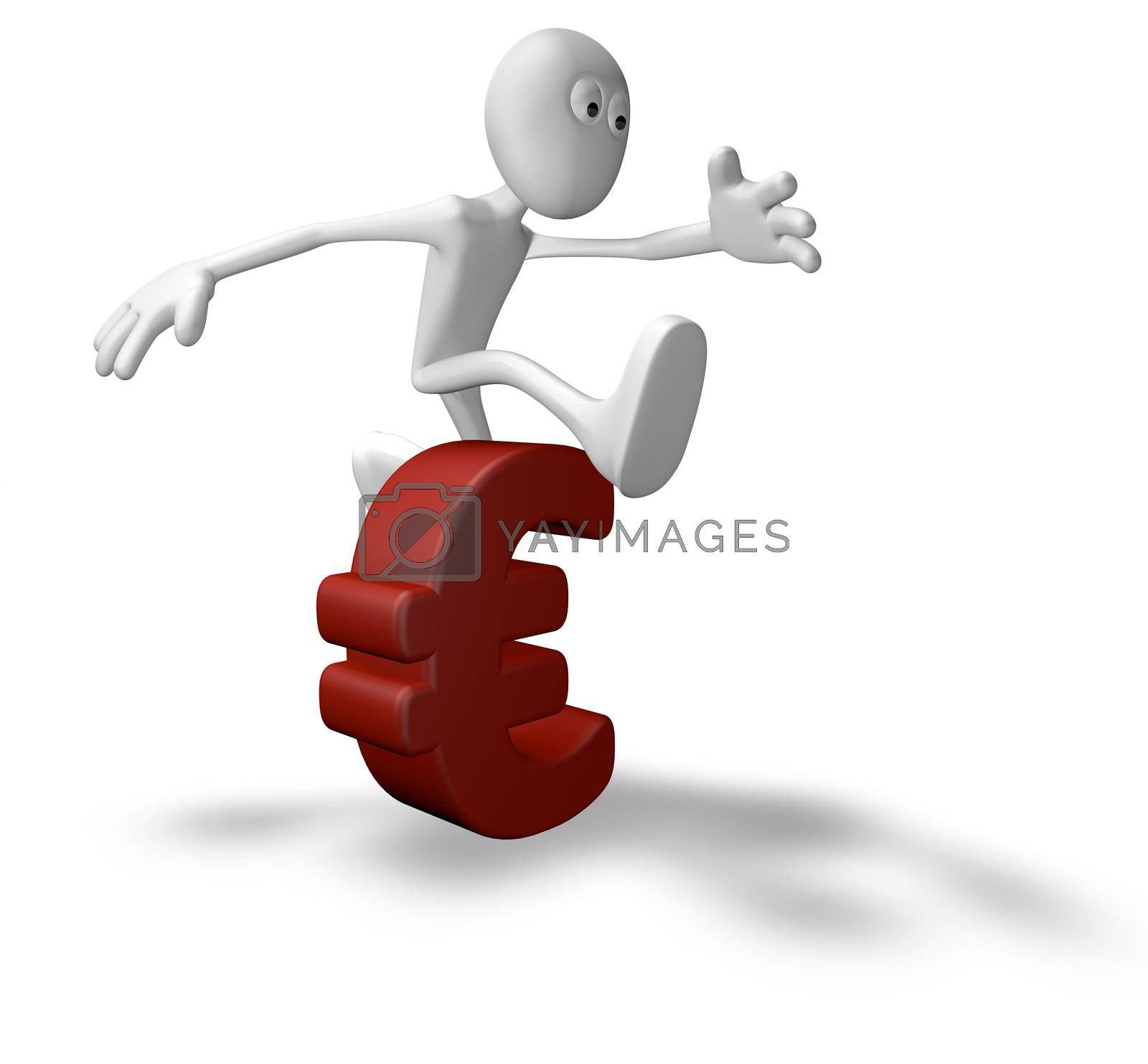white guy jumps over euro symbol - 3d illustration