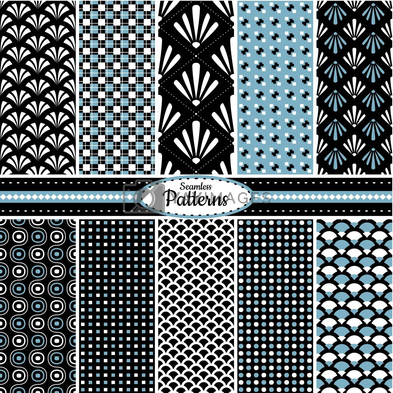 Collection of 10 geometric colorful seamless pattern background. Great for web page backgrounds, wallpapers, interiors, home decor, apparel, etc.Vector file includes pattern swatch for each pattern.