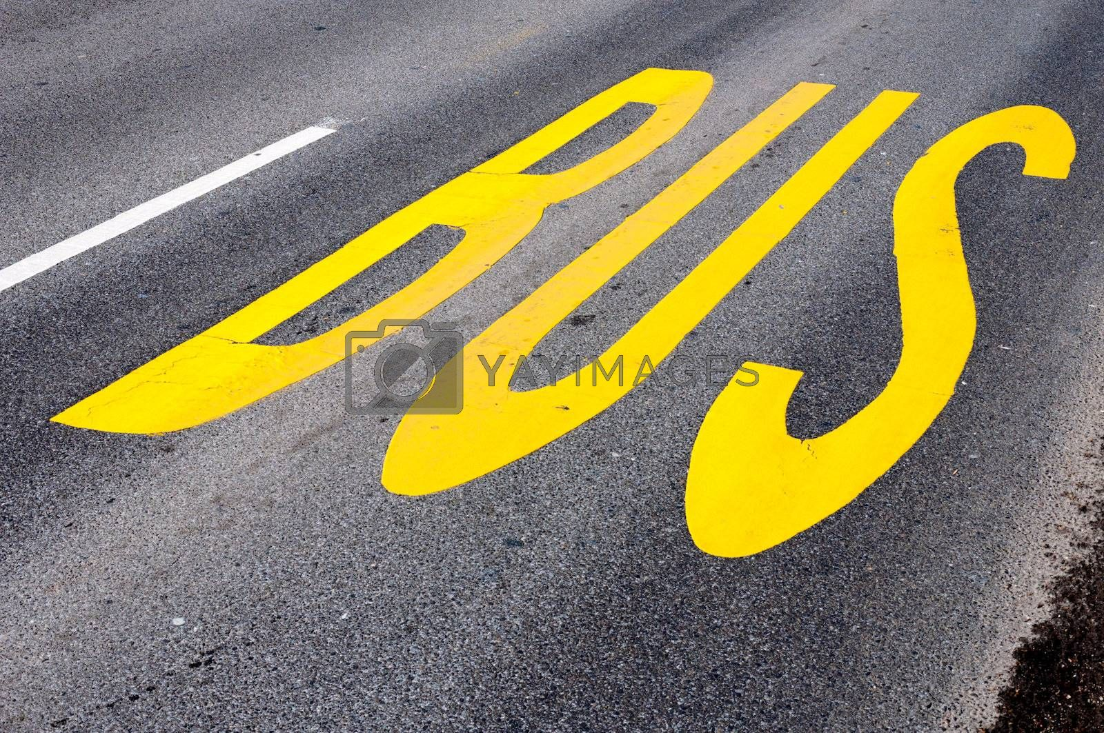 Yellow bus sign on the road
