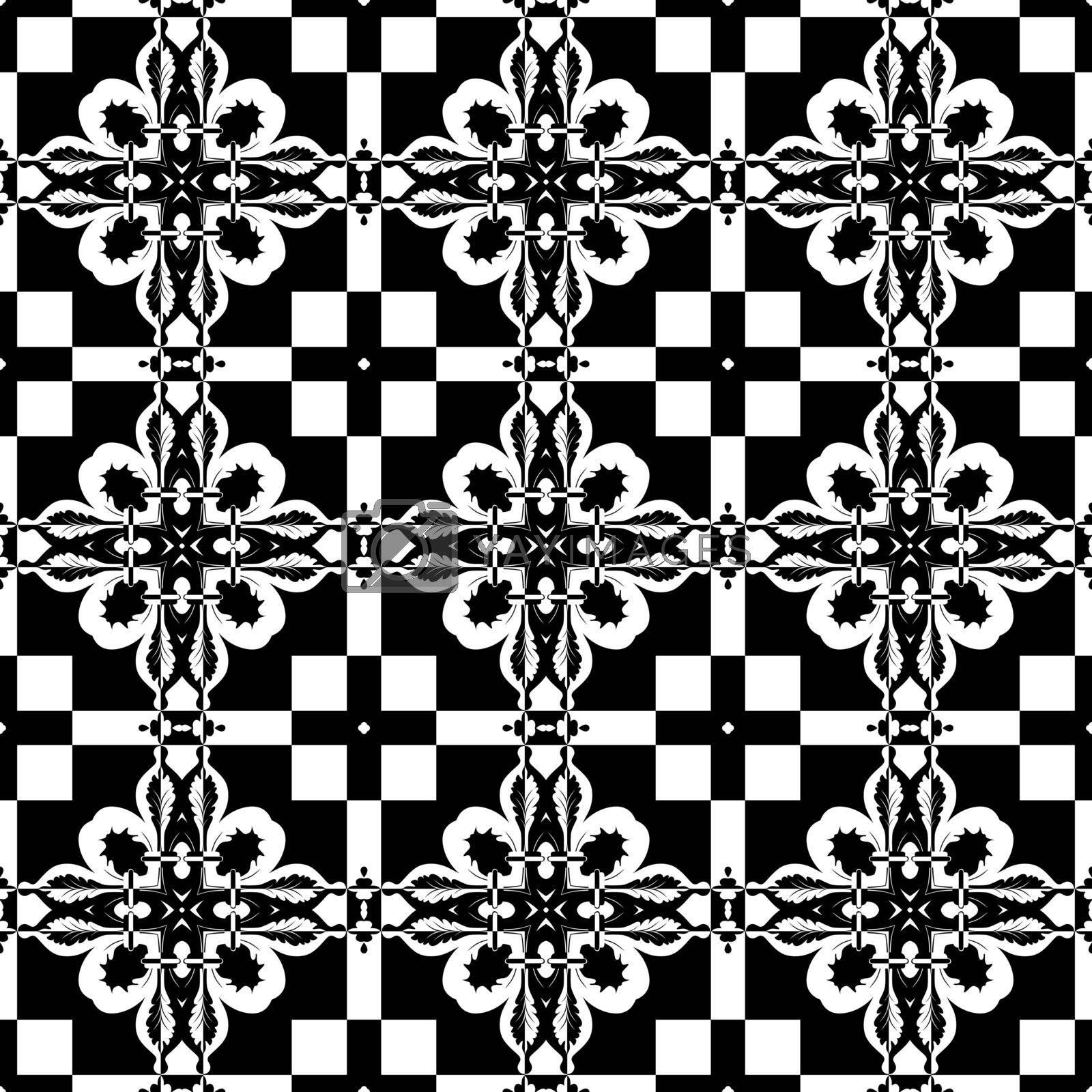 Seamless pattern in black and white made of floral elements