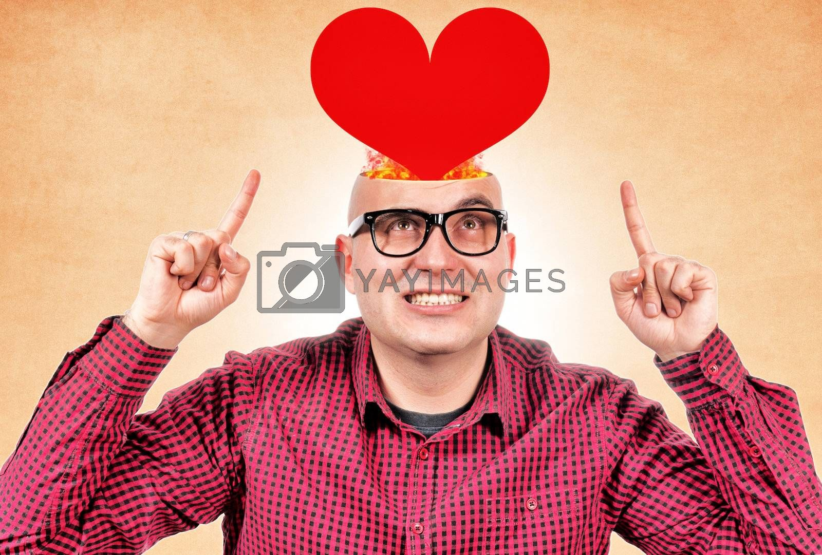 Man with red heart in his head