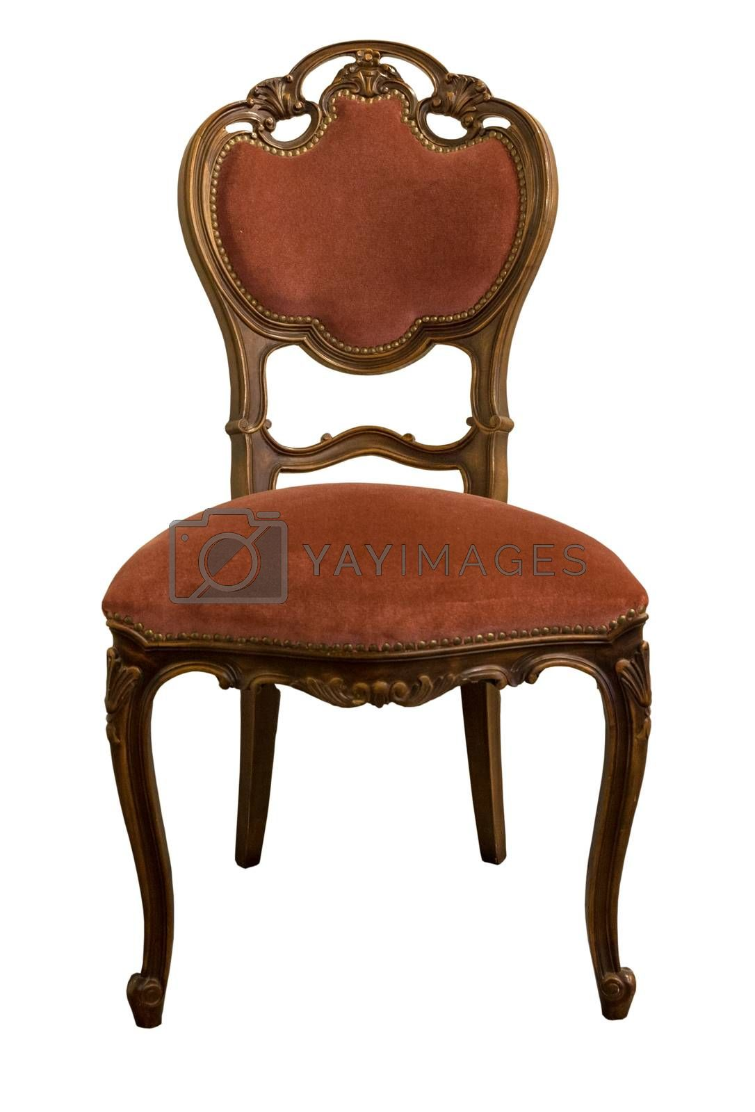 French XIX century antique furniture made from oak wood isolated on white.