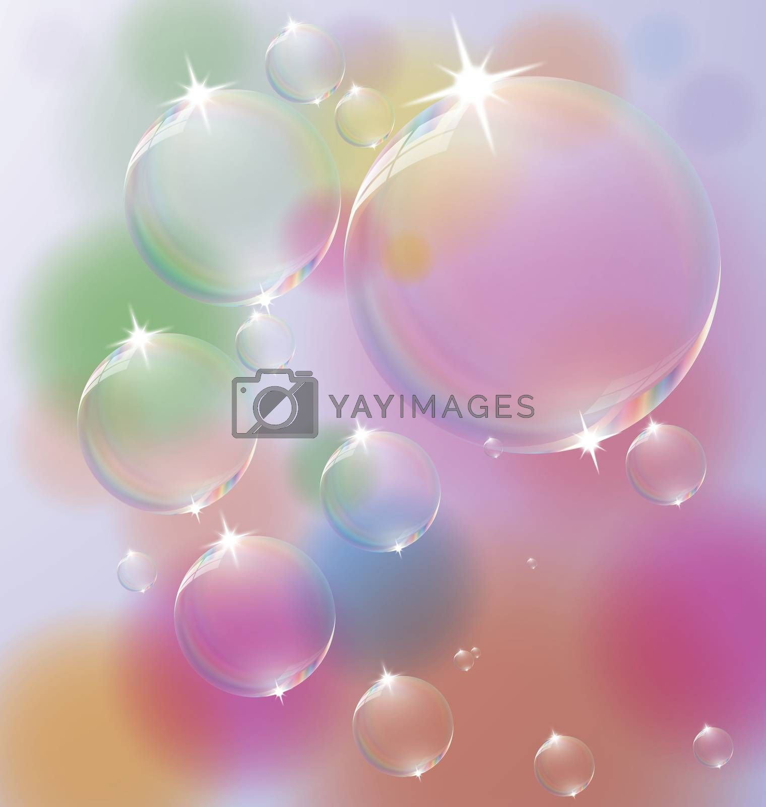 Colorful background with Soap Bubbles