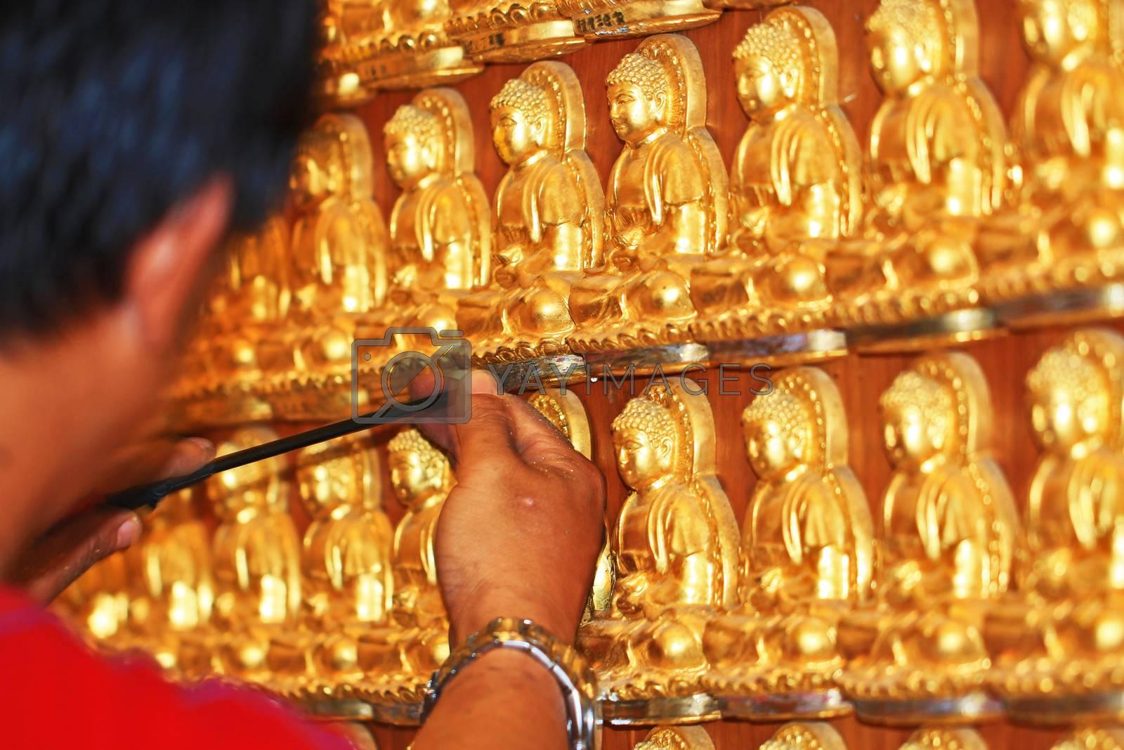 Mahayana buddhist temple wall in Wat-Leng-Noei-Yi 2 at Bang-Bua-Thong.