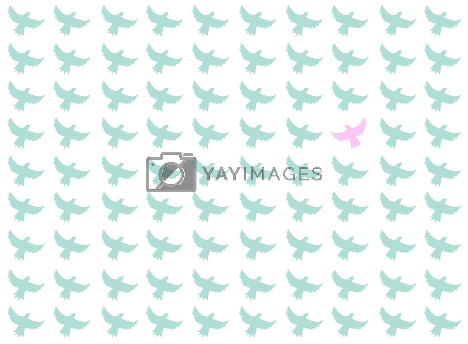 Birds seamless pattern, the one is differrent from the other