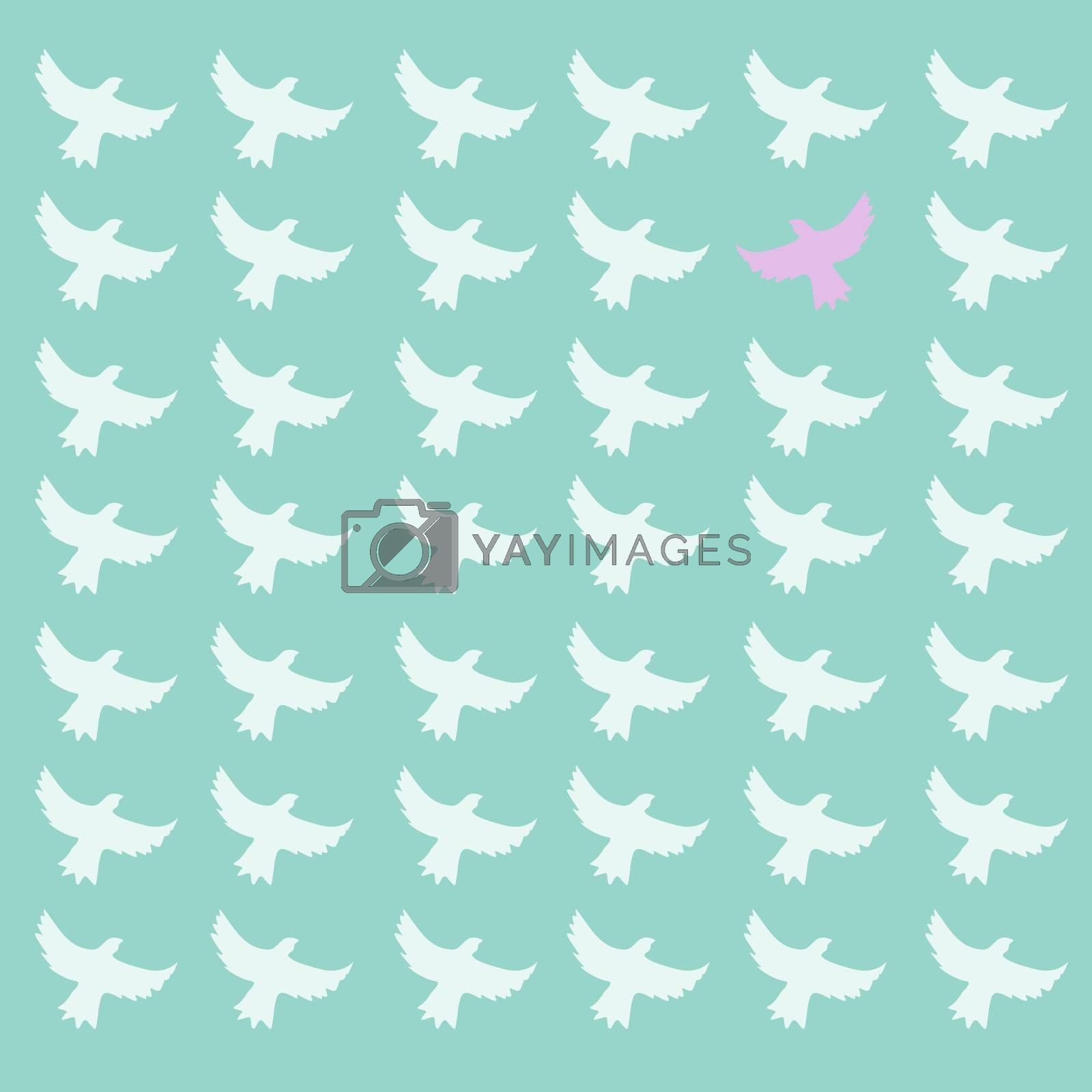Pink bird differrent from the other, seamless pattern