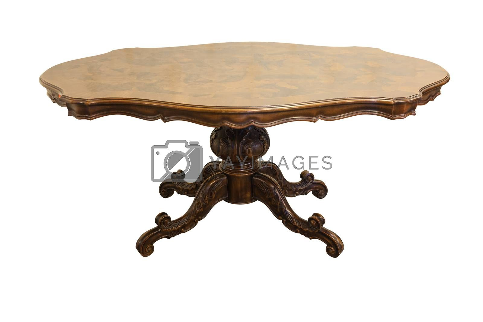 Antique twentieth century table isolated on white background
