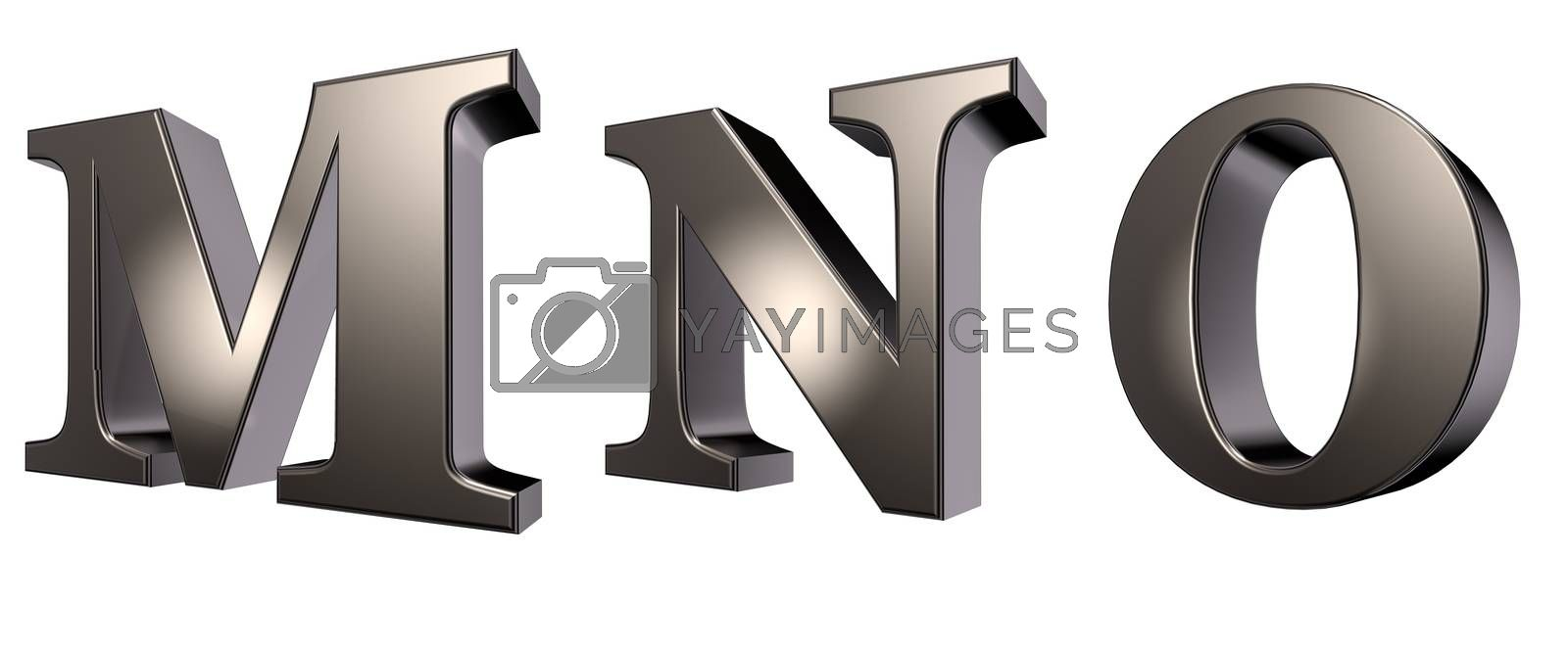 metal  letters m, n and o on white background - 3d illustration