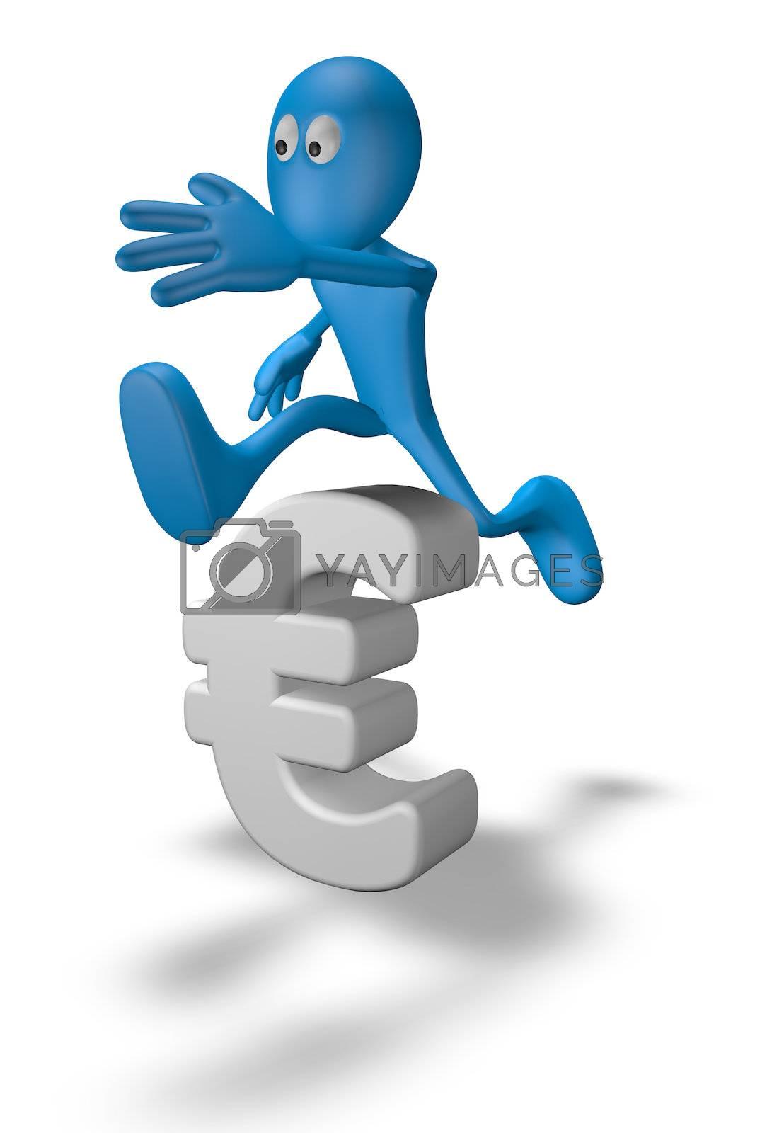cartoon guy jumps over euro symbol - 3d illustration
