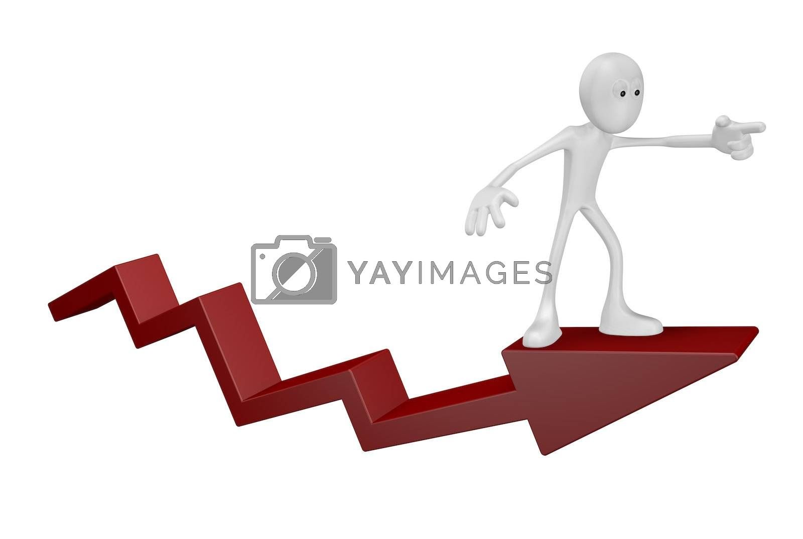 cartoon guy on statistics arrow - 3d illustration