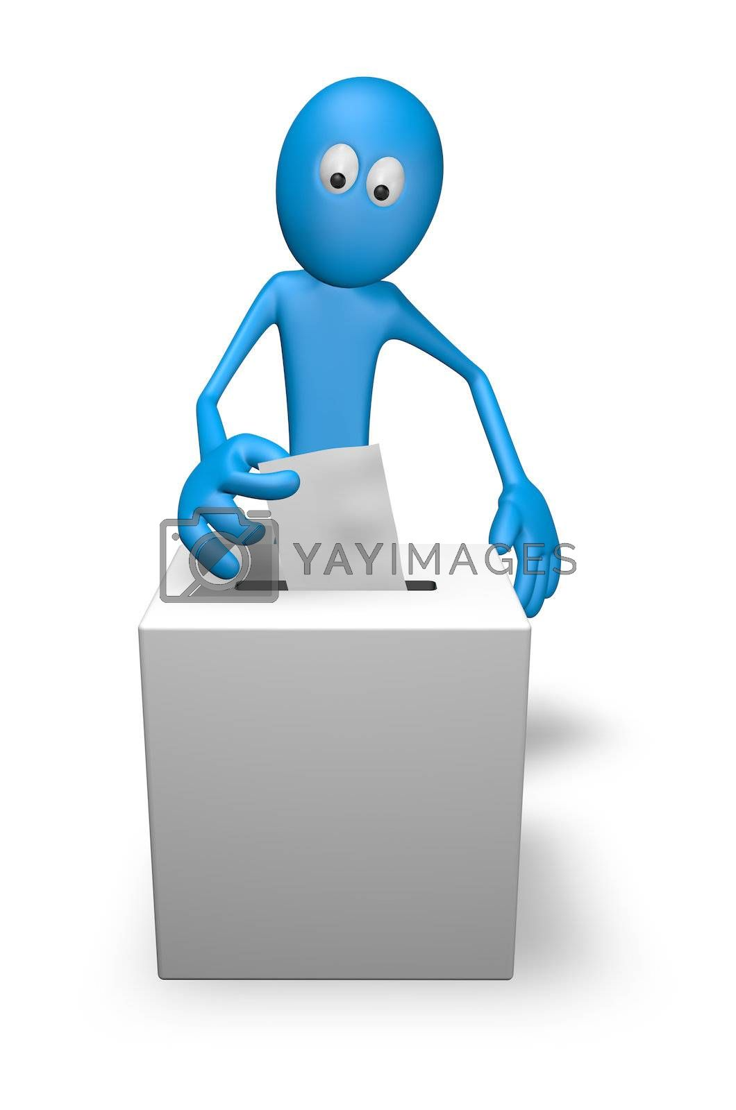 cartoon guy and vote box - 3d illustration