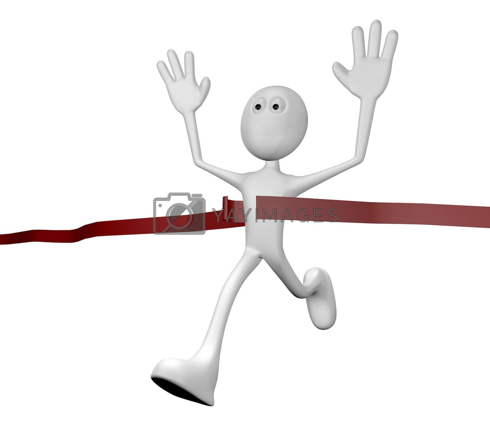 cartoon character crossing the finishing line - 3d illustration