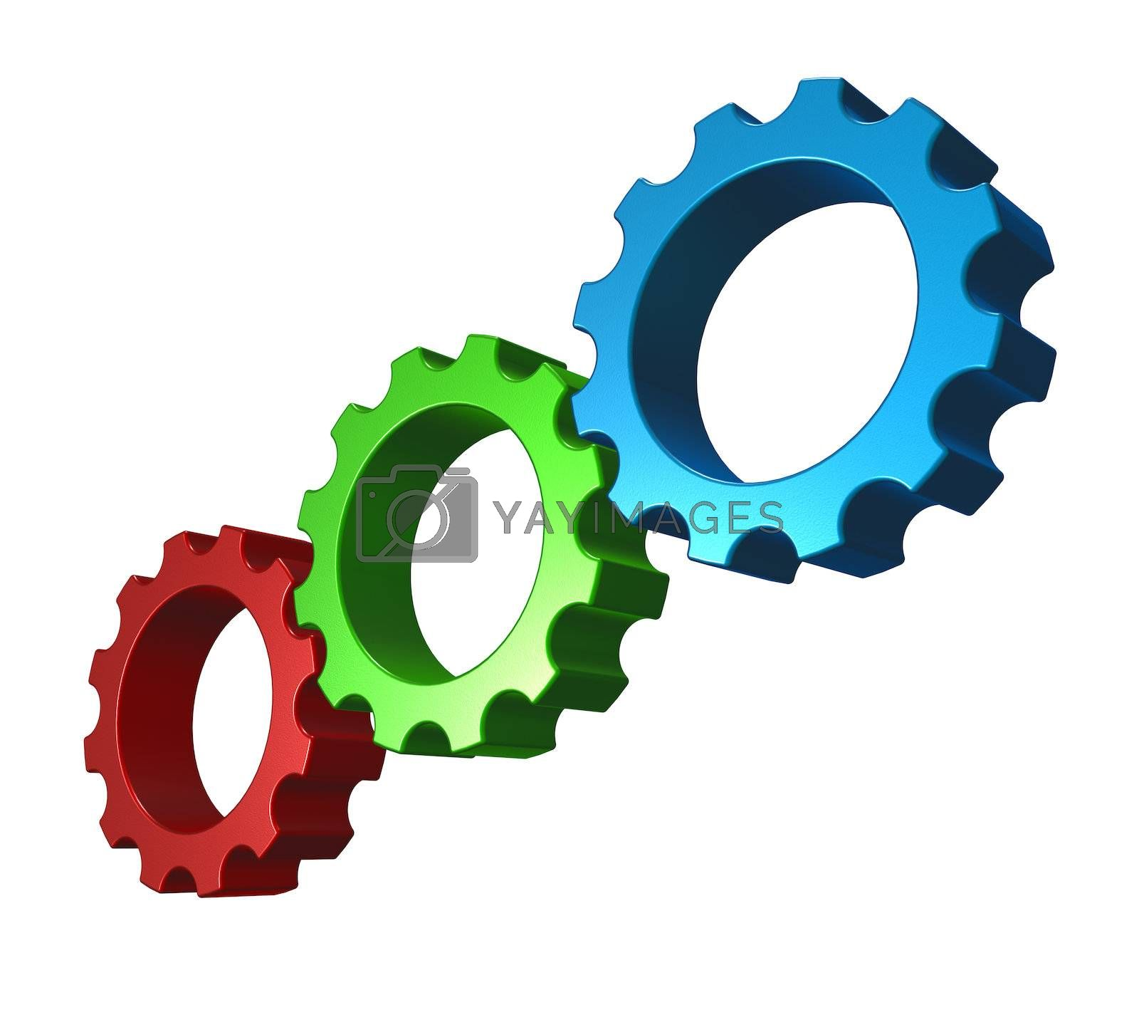 gear wheels in rgb colors on white background - 3d illustration