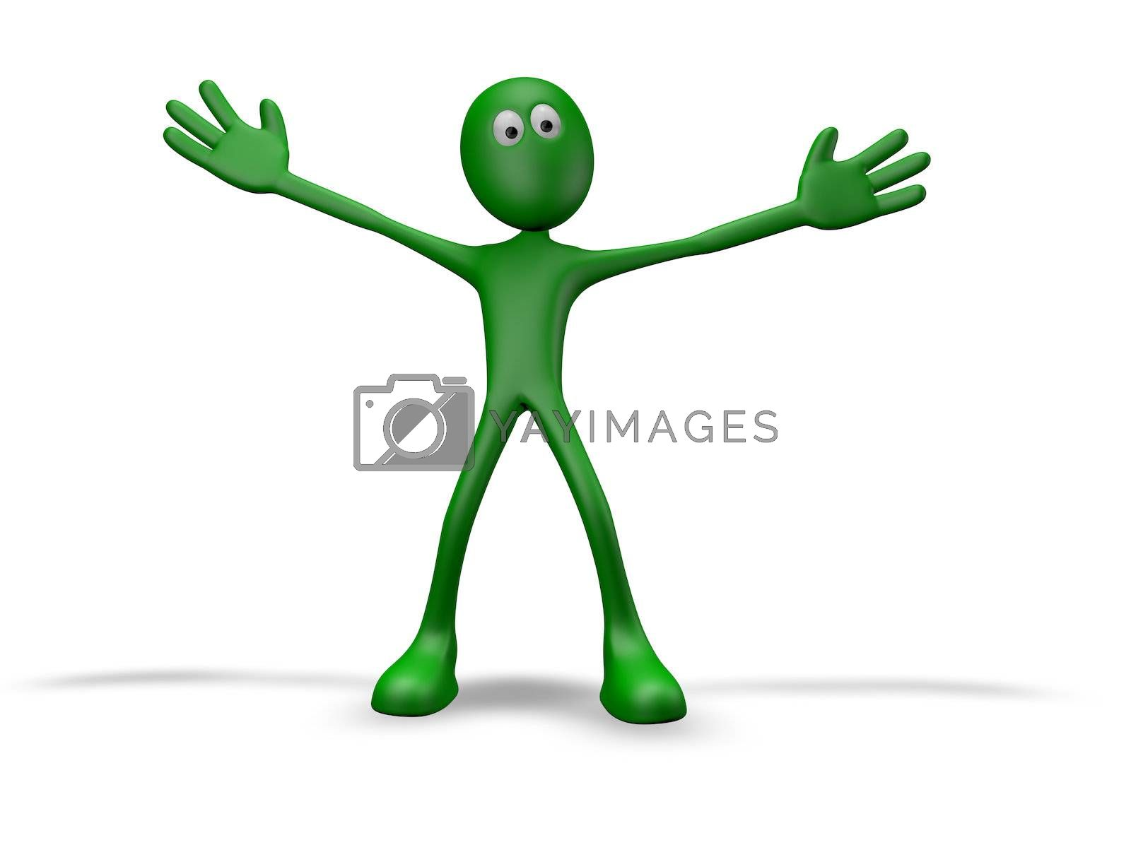 cartoon guy with wide open arms - 3d illustration