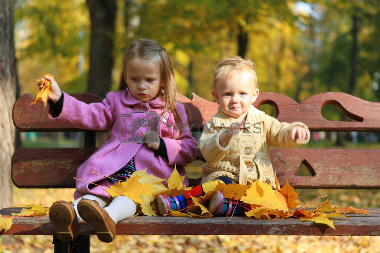 Two little beautiful girls sitting on the bench in warm autumn day