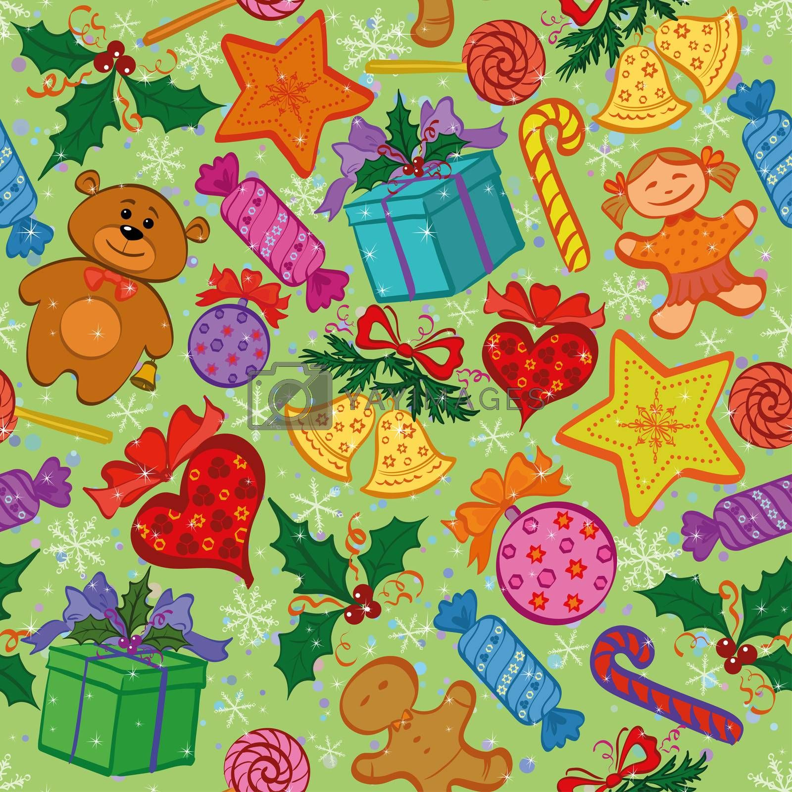 Holiday seamless pattern with cartoon characters and elements.