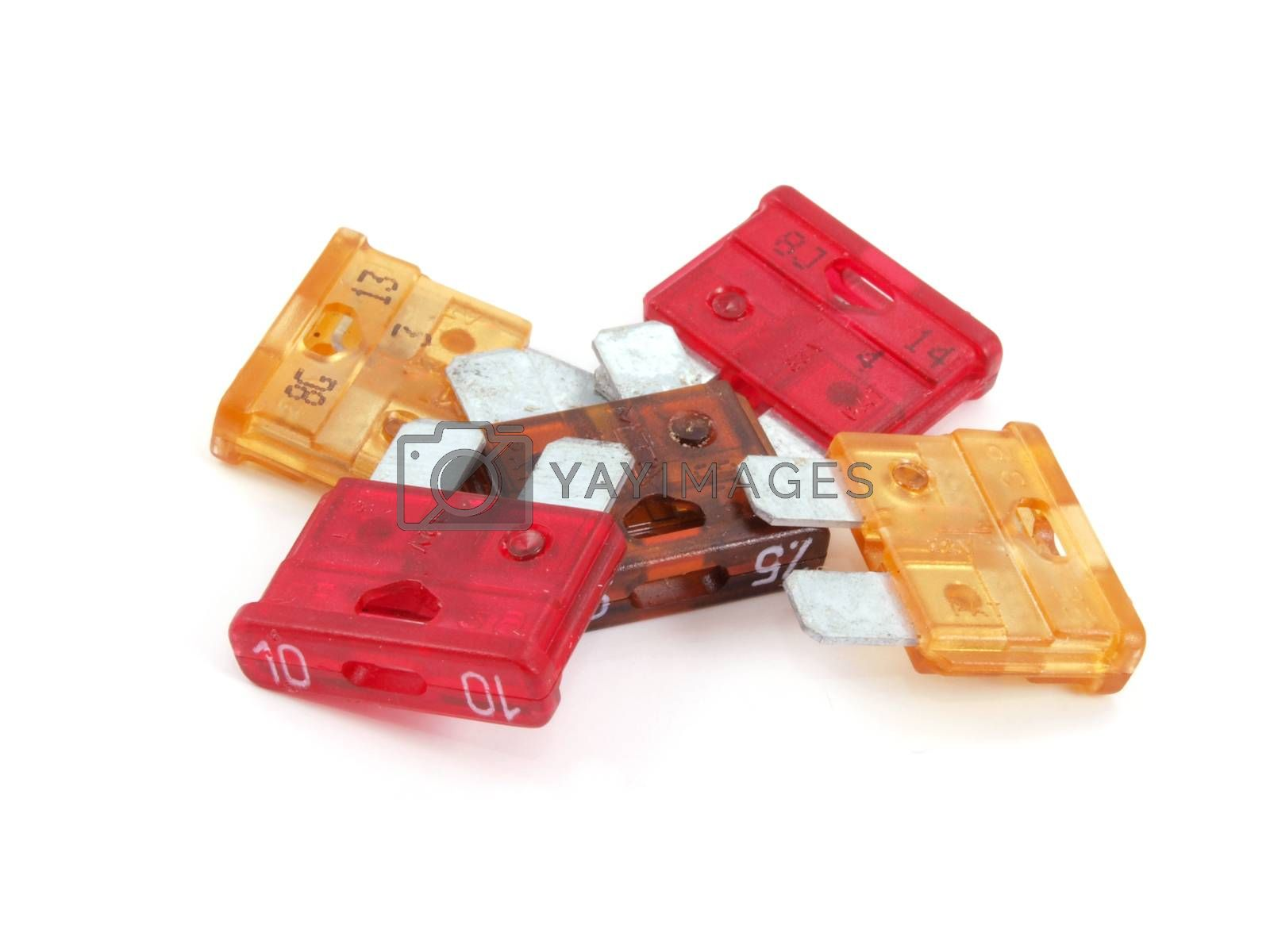 Assorted fuses as used in the  automotive industry.