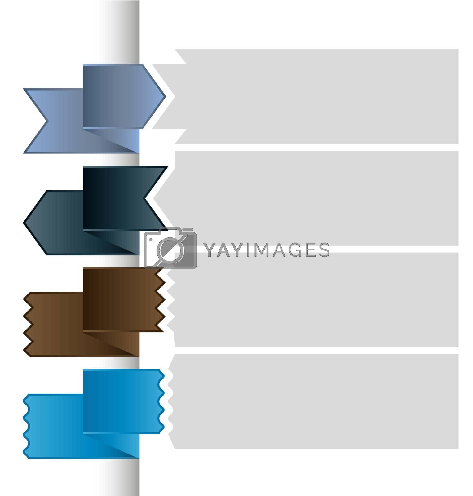 Different colored ribbons with place for text