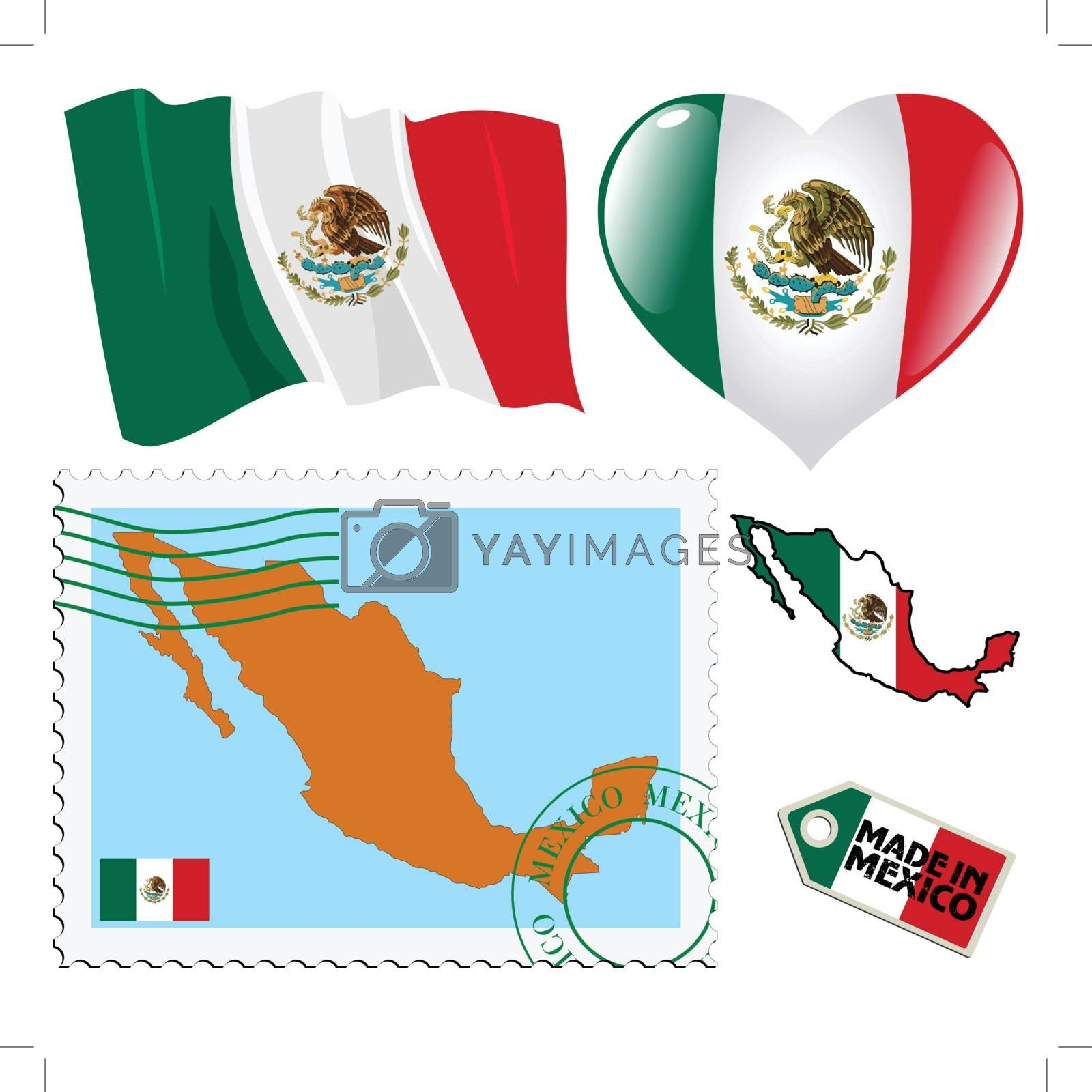 set of different symbols in national colours of Mexico