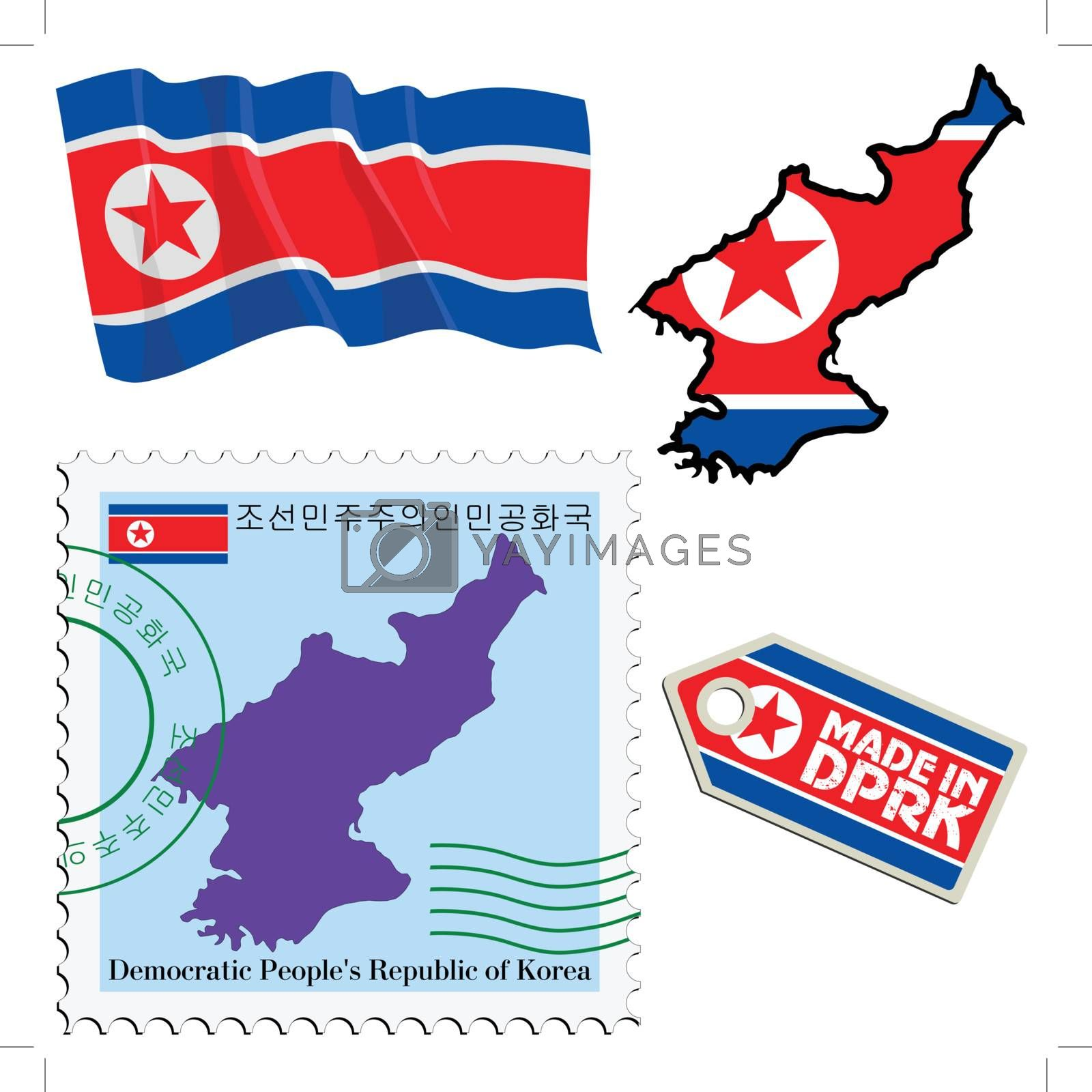 set of different symbols in national colours of North Korea