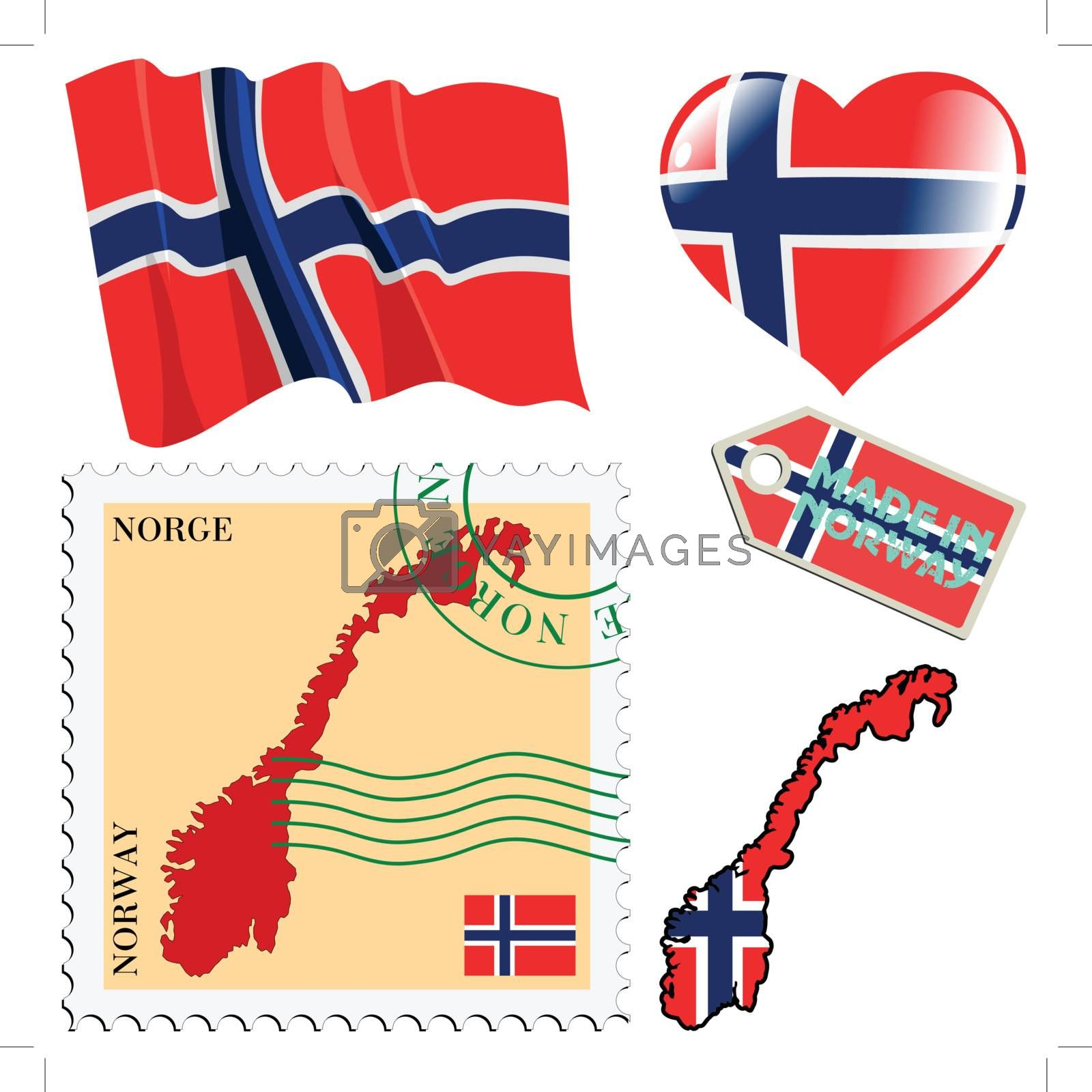 set of different symbols in national colours of Norway