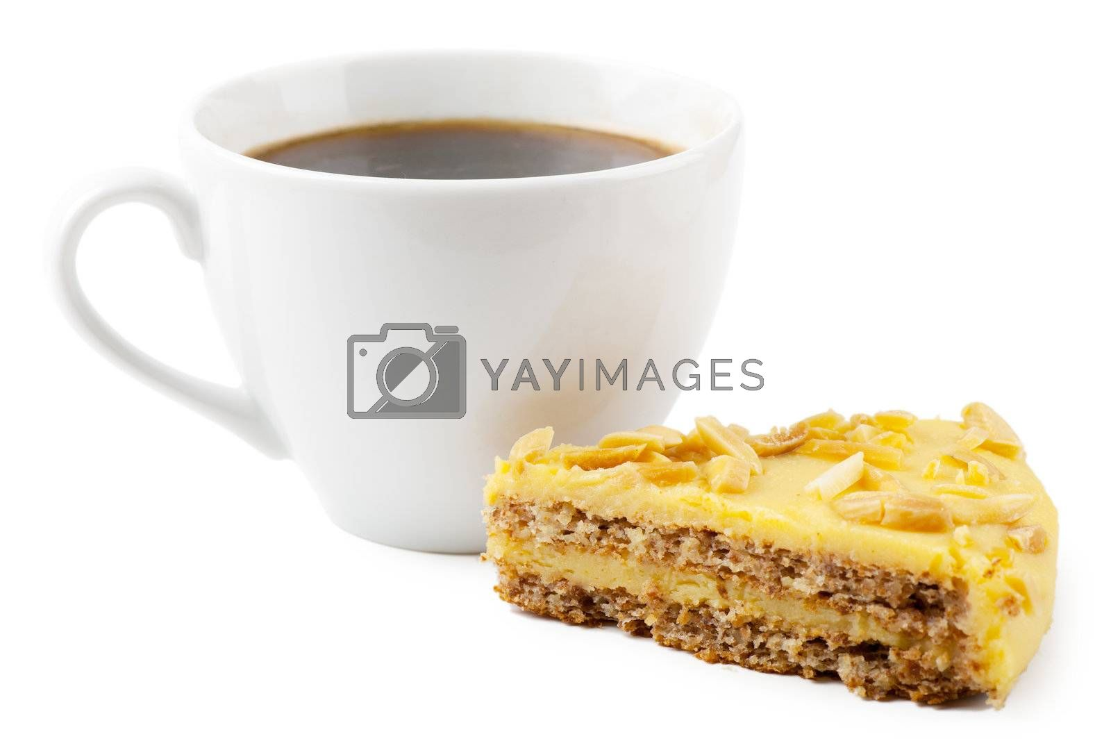 Cup of coffee and pie on a white background