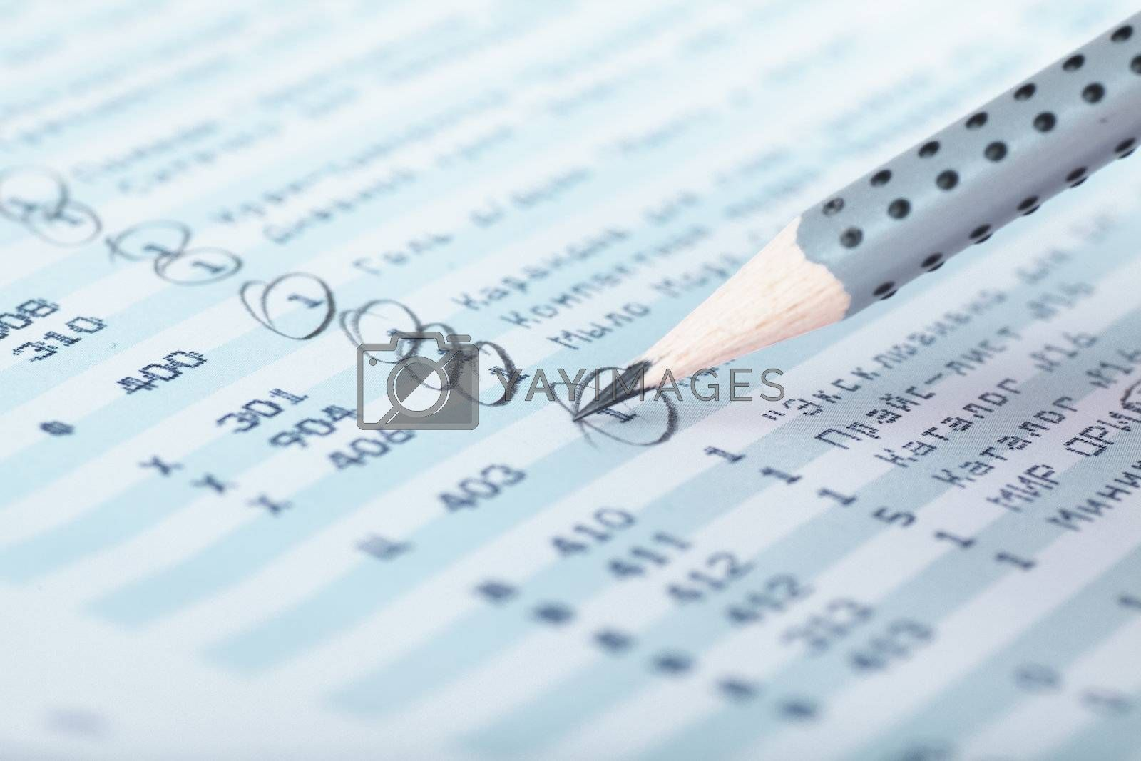 Closeup view of lead pencil on a financial report