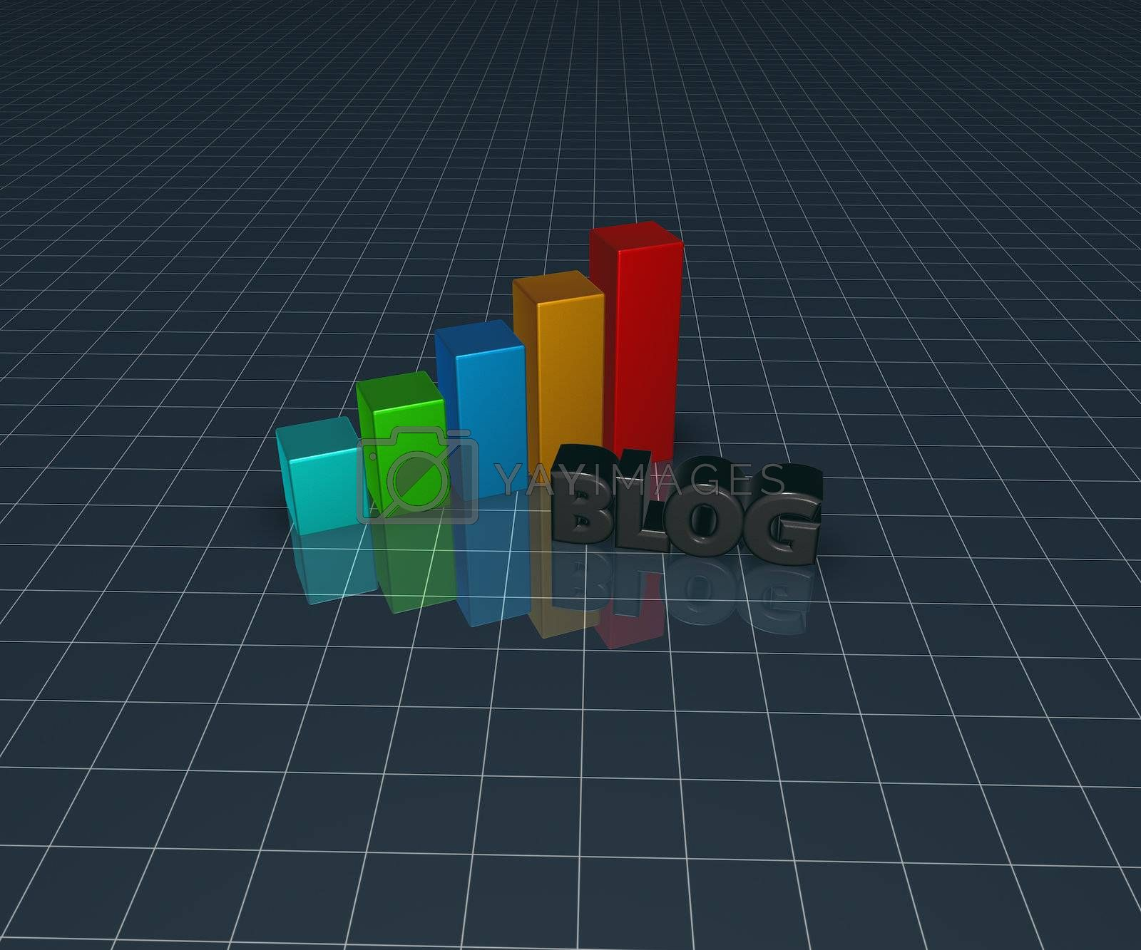 business graph and the word blog - 3d illustration