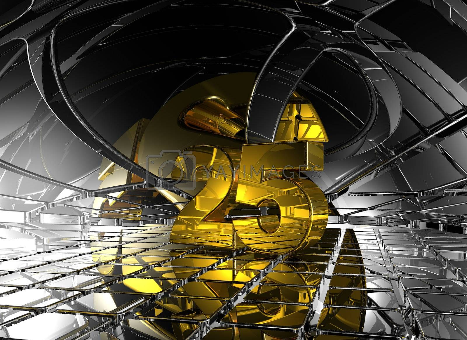 number twenty five in abstract futuristic space - 3d illustration