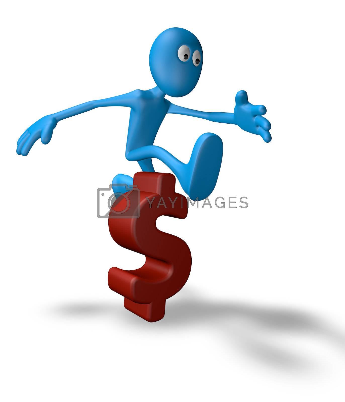 cartoon guy jumps over dollar symbol - 3d illustration